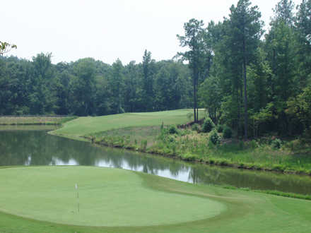 A view of a green surrounded by water at Bartram Trail Golf Club.
