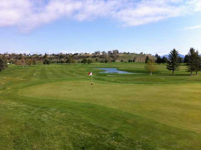 A view of the 18th green at Village Greens Golf Course