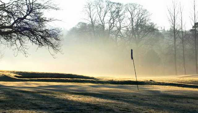 A view of a hole surrounded by mist at Fintona Golf Club
