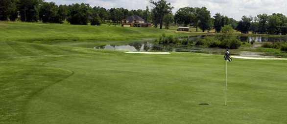 A view surrounded by water at Southern Hills Golf Club