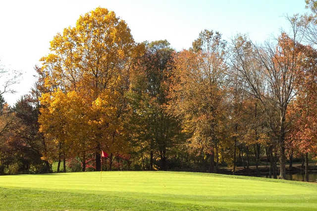 A fall view of a hole at Cream Ridge Golf Club