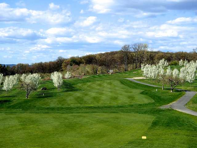 A spring view from a tee at Apple Greens Golf Course
