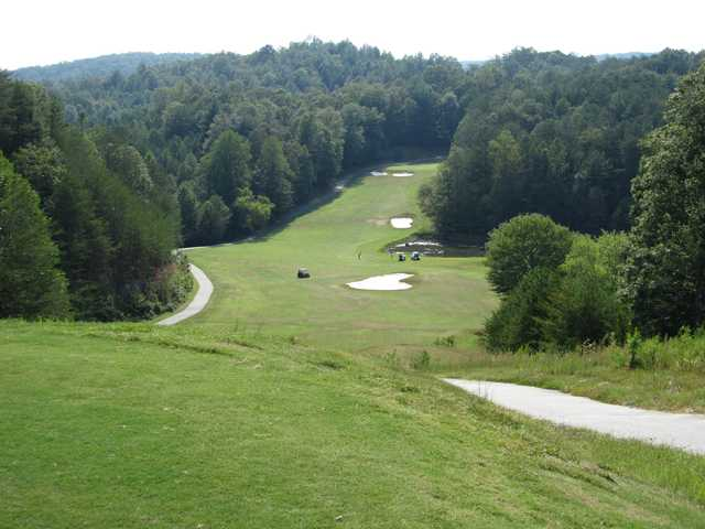 A view of the 1st fairway at White Path Golf Club