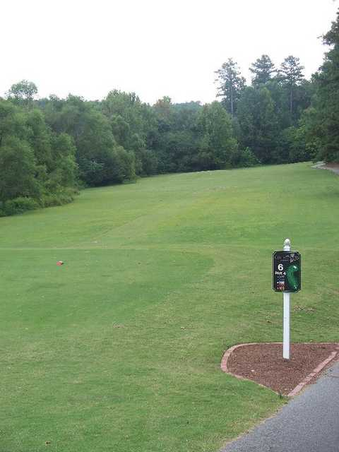 A view of the 6th fairway from the tee at Collins Hill Golf Club