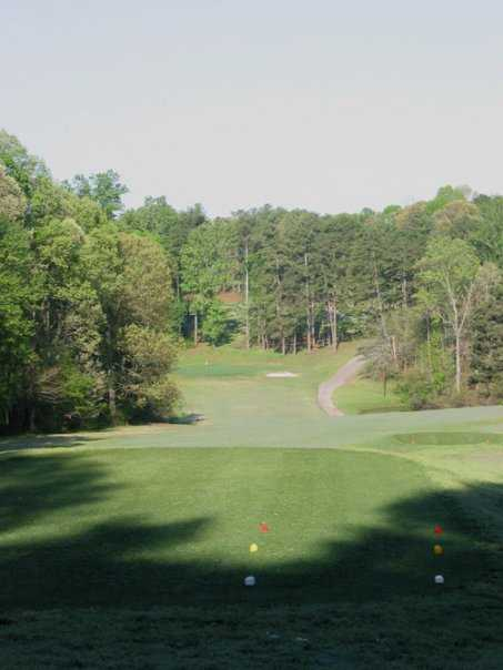 A view of hole #15 from the tee at Mystery Valley Golf Club