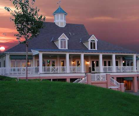 A sunset view of the clubhouse at City Club Marietta