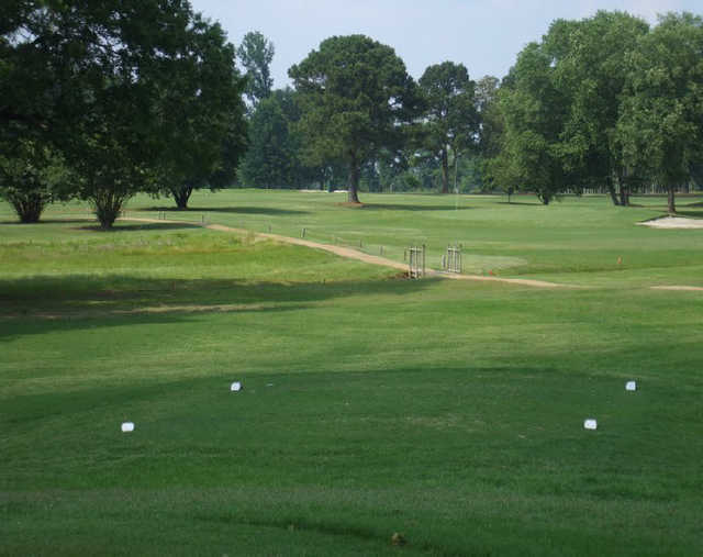 A view from a tee at Oaks Country Club