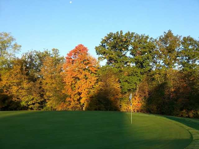 A fall morning view of a green at East Palestine Country Club