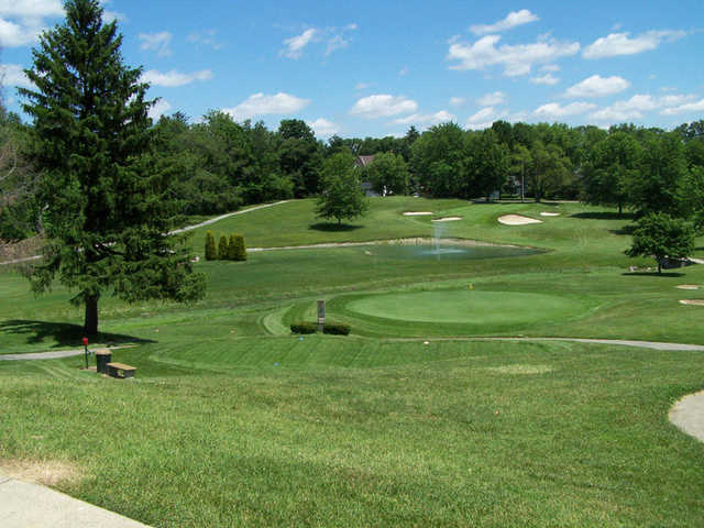 A view of two greens at Moose Golf Course