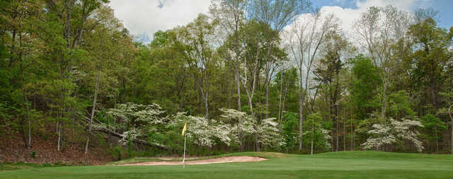 A spring day view of a green at Deer Valley Golf Club.
