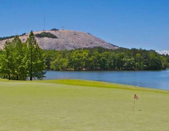 A view of the putting green at Stone Mountain Golf Course