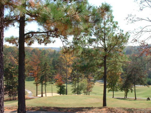 An autumn view of the 17th hole at Sugar Hill Golf Club