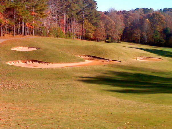 An autumn view of hole #16 at Towne Lake Hills Golf Club