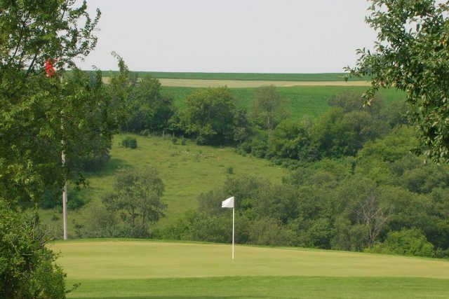 A view of green #4 at Prairie from Deer Valley Golf Course