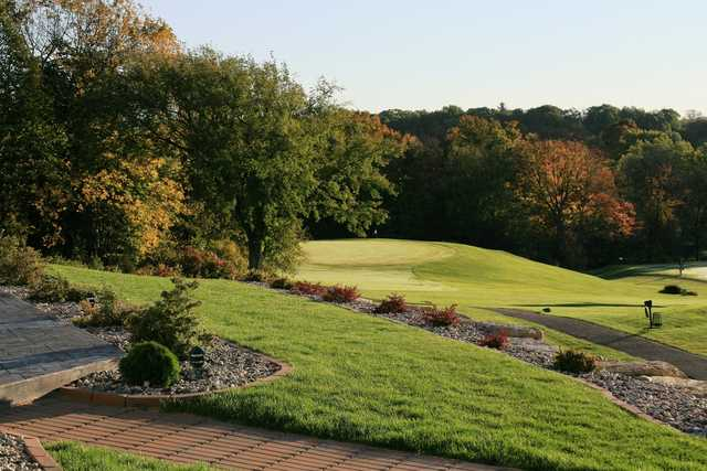 A fall view of a green at Baraboo Country Club.