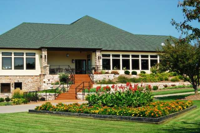 A view of the clubhouse at Evergreen Golf Club