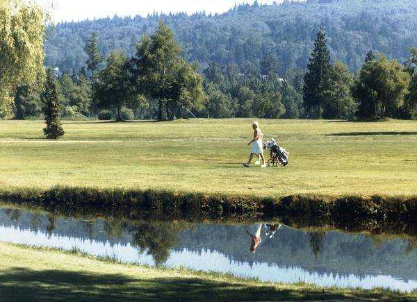 A view over the water from Burnaby Mountain Golf Course