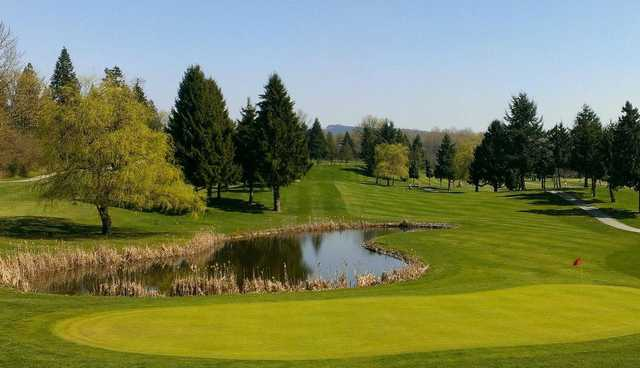 A spring view of a green at Fort Langley Golf Course