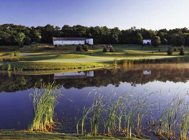 A view of green #3 at Hawk's View Golf Club - Barn Hollow Course