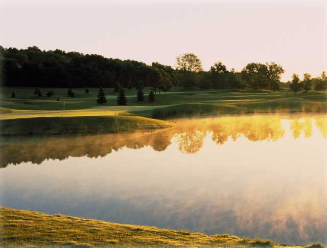 A morning view from Barn Hollow at Hawk's View Golf Club.