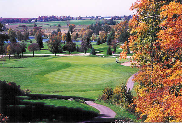 A view of a green from The Golf Club at Camelot.