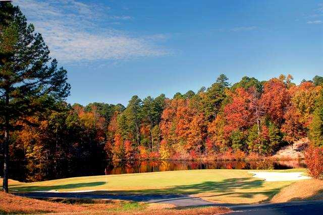 A fall view of a green at Ponce de Leon Golf Course