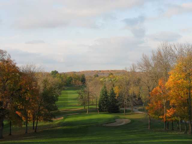 A fall view of the 10th hole from the Island course at Silver Spring Country Club