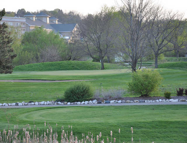 A view from Pewaukee Golf Club with the clubhouse in background