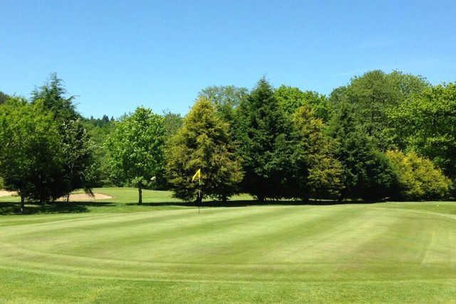 A view of a green at Llantrisant and Pontyclun Golf Club