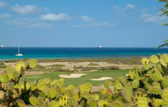 A view of a well protected green with the ocean in the distance at Tierra del Sol Resort & Golf