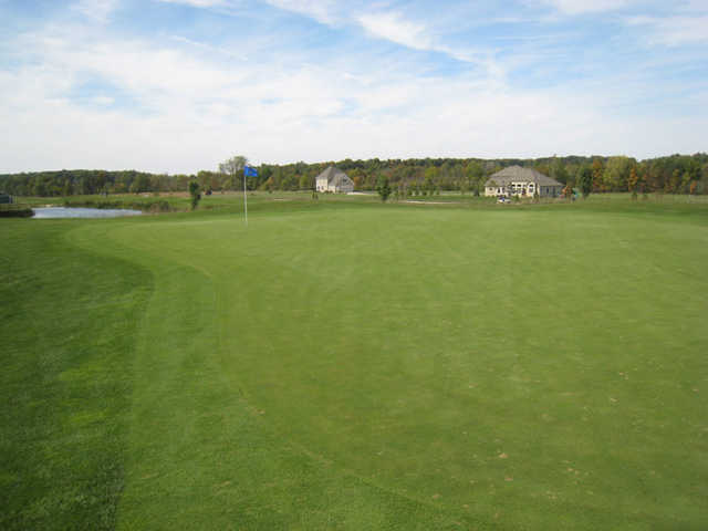 A view of the 1st green at The Ridge Golf & Gardens
