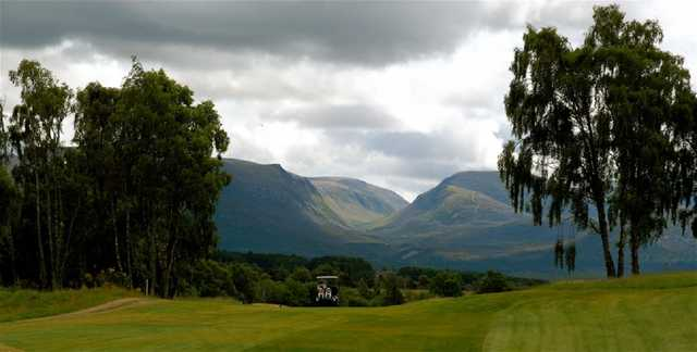 The Spey Valley mountain range and golf carts