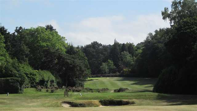 A view of a tee at Sunningdale Heath Golf Club