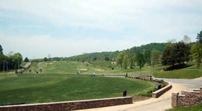 A view of the driving range at Crockett Ridge Golf Course