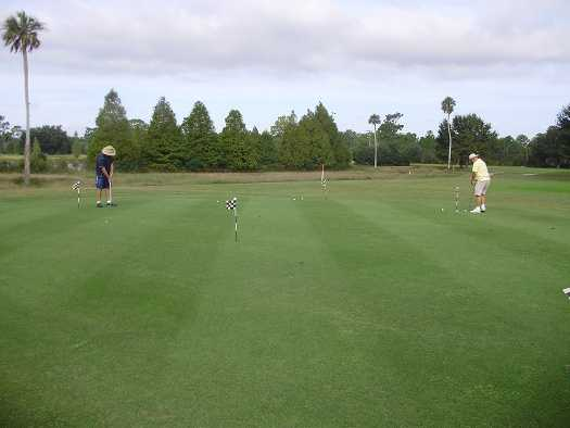 A view of the practice area at Indian Lake Estates Golf & Country Club