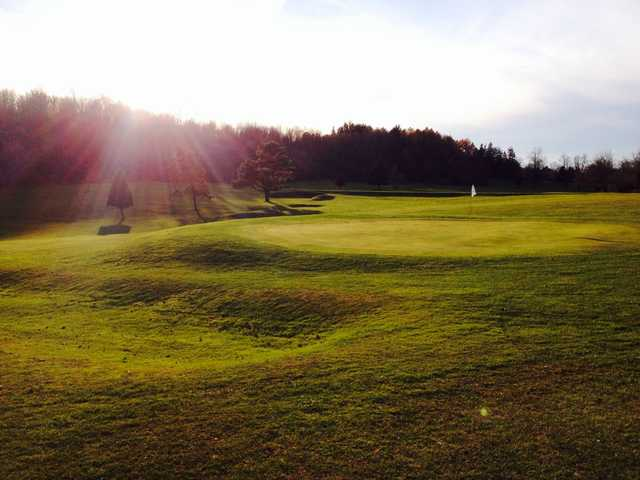 A sunny day view of a hole at Lyndon Golf Course