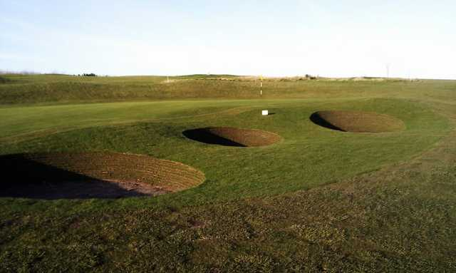 A view of the new bunkers from hole #17 at Eyemouth Golf Club
