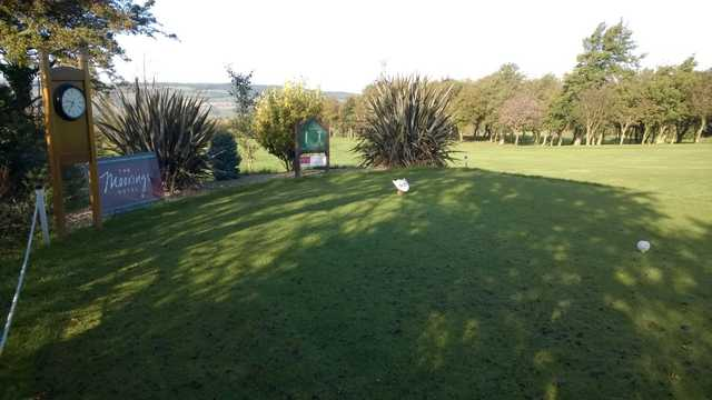 The 1st tee and clock at Ravensworth Golf Club