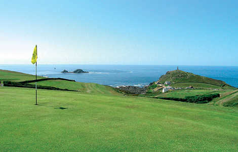 The 1st green on the Cape Cornwall Golf Course