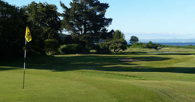 Looking back from the green at Brodick Golf Club