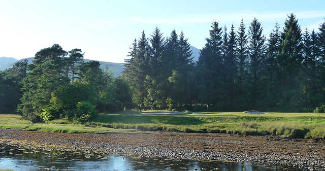 A large water hazard at Brodick Golf Club