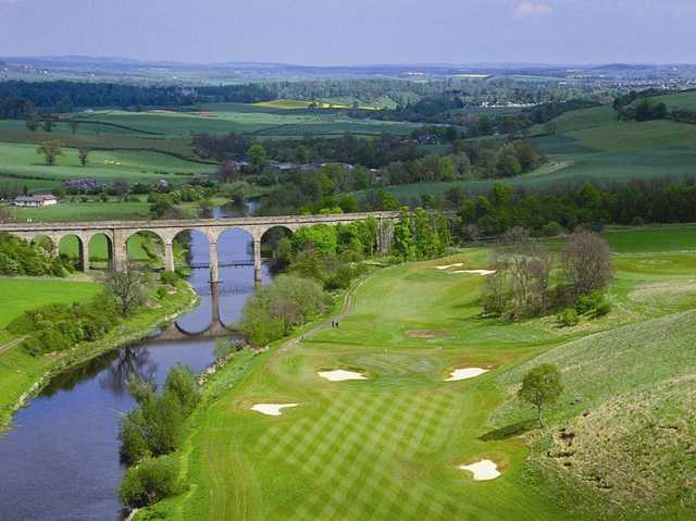 Aerial view of The Viaduct at SCHLOSS Roxburghe Golf Course
