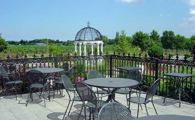 View from the patio overlooking the garden at Rockway Vineyards Golf Course