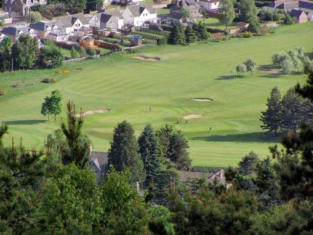 An aerial view over Ballater Golf Course