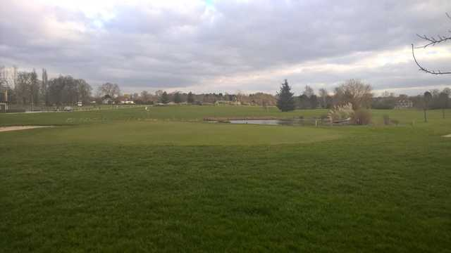 A look back from the 18th green at Woolston Manor