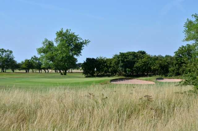 Scenic view of the 8th green and bunkers at Cleethorpes Golf Club