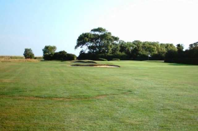 The approach to the 2nd on the harvers at Frinton Golf Course