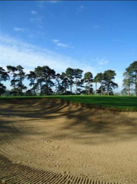 A bunker shot of a green of Carswell Golf Course at Carswell Golf & Country Club
