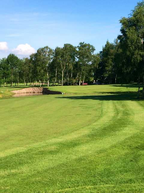 The approach to the 18th and surrounding trees at Lee Park Golf Club
