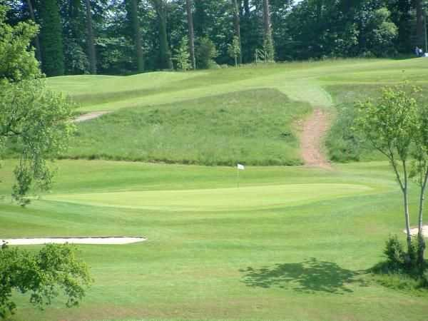 View of the 2nd green at Coed-y-Mwstwr Golf Club